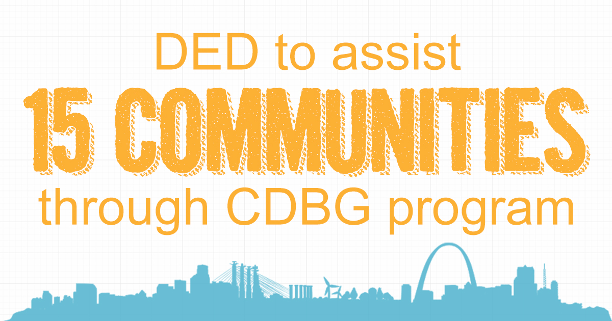 DED to assist 15 communities through CDBG program