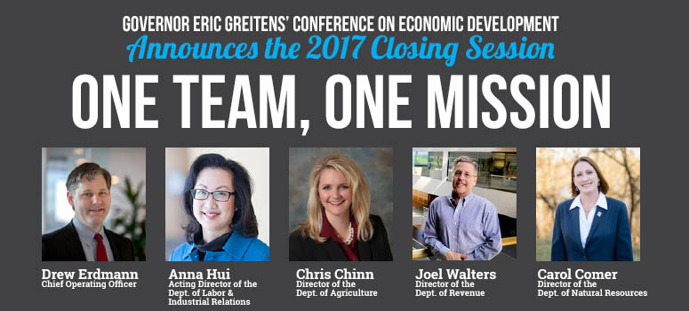 "Governor's Conference on Economic Development Closing Session, ""One Team, One Mission,"" Announced"