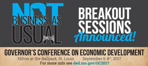Governor's Conference on Economic Development Breakout Sessions have been announced